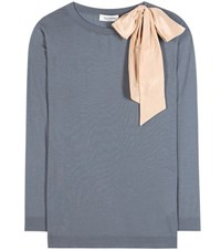 Valentino Embellished Virgin Wool Sweater Blue