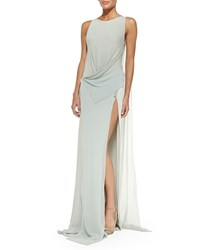 Donna Karan Bi Color Draped Front Evening Gown Platinum Bluefrst