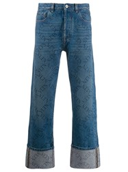 Valentino Rolled Up Hems Vlogo Jeans Blue