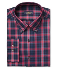Club Room Men's Estate Classic Fit Wrinkle Resistant Navy Macbeth Dress Shirt Only At Macy's