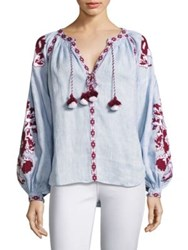 March 11 Embroidered Hi Lo Linen Blouse Light Blue Navy