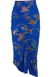 Preen By Thornton Bregazzi Tracy Ruched Floral Print Stretch Crepe Midi Skirt Blue