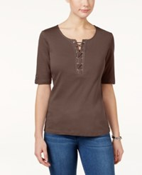 Karen Scott Lace Up Cotton T Shirt Only At Macy's Brown Clay