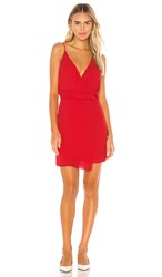 Krisa Twist Waist Surplice Mini Dress In Red. Starlet