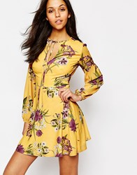 Oh My Love Long Sleeve Tea Dress With Keyhole And Tie Multi