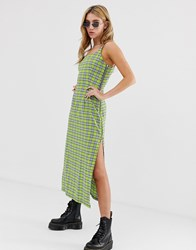 The Ragged Priest Maxi Slip Dress In Check With Side Splits And Zip Detail Yellow