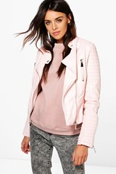 Boohoo Harriet Leather Look Quilted Biker Jacket Nude