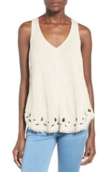 Women's Astr 'Gazania' Cutout Hem Cotton And Linen Tank
