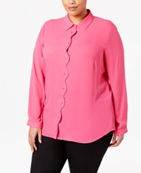 Ny Collection Plus Size Scalloped Blouse Berry Majesty