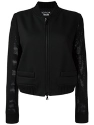 Boutique Moschino Perforated Sleeves Bomber Jacket Black