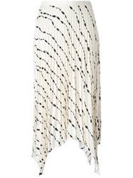 Helmut Lang Printed Pleated Skirt White