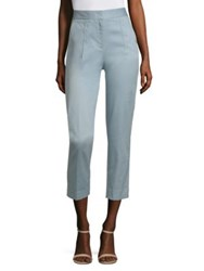 Donna Karan Slim Fit Cropped Ankle Pants Chambray