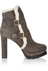 Alexander Mcqueen Shearling Lined Suede Platform Ankle Boots Nude