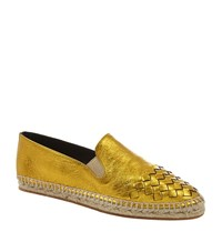Bottega Veneta Interweave Toecap Espadrille Female Gold