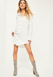 Missguided White Gold Button Deep Cuff Shirt Dress
