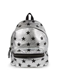 Saint Laurent Metallic Leather Star Hunting Backpack Silver