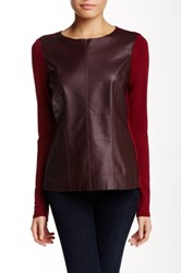 Michael Stars Leather Front Long Sleeve Blouse Red