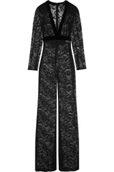 Balmain Velvet Trimmed Stretch Cotton Lace Jumpsuit