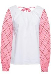 Shrimps Woman Cutout Paneled Cotton Poplin And Organza Top White