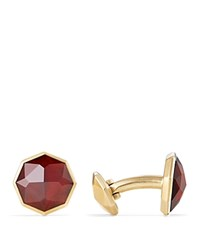 David Yurman Fortune Faceted Cufflinks With Garnet In 18K Yellow Gold Red Gold