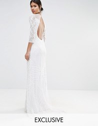 A Star Is Born Embellished Sheer Insert Long Sleeve Maxi Dress White