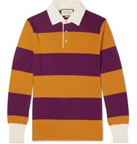 Gucci Embroidered Striped Wool Polo Shirt Purple