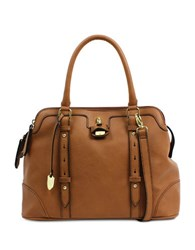 London Fog Lancaster Vegan Leather Triple Satchel Cognac