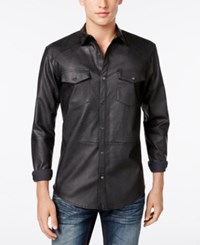 Inc International Concepts Men's Hart Faux Leather Shirt Only At Macy's Black