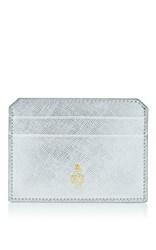 Mark Cross Leather Card Case Silver