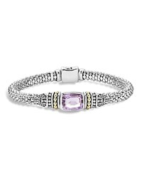 Lagos 18K Yellow Gold And Sterling Silver Caviar Color Bracelet With Rose De France Amethyst Lavender Silver