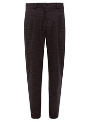 Oliver Spencer Palmerston Checked Lambswool Trousers Navy