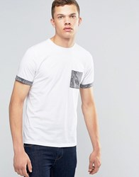 Another Influence Contrast Pattern Pocket T Shirt White