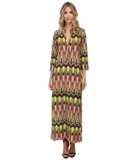 Tbags Los Angeles Long Sleeve Maxi W Side Slit Lime Yellow Pink Women's Dress Multi
