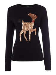 Therapy Nellie Sequin Reindeer Knit Jumper Black