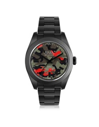 Mad Customized Watches Customized Rolex Milgauss Red Camo Dial Men's Watch Black