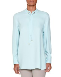 Piazza Sempione Long Sleeve Tie Neck Tunic Aqua Blue