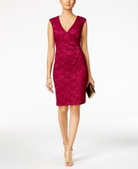 Connected Sequined Lace Sheath Dress Magenta
