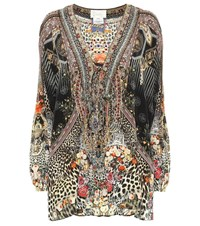 Camilla Embellished Printed Silk Blouse Multicoloured