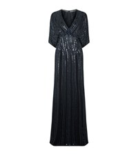 Jenny Packham Embellished Batwing Gown Female Blue