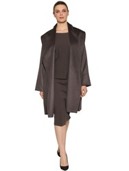 Marina Rinaldi Astrakhan Effect Alpaca Coat Brown