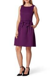 Tahari Sleeveless Bow Waist Fit And Flare Dress Plum