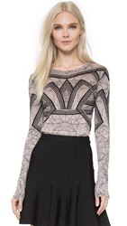 Herve Leger Printed Long Sleeve Top Black Combo