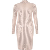 River Island Womens Metallic Nude Turtleneck Bodycon Dress