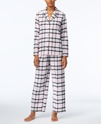 Alfani Printed Flannel Pajama Set Only At Macy's Pink Plaid