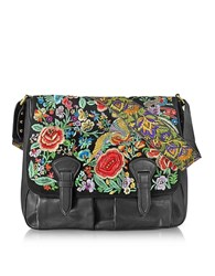 Roberto Cavalli Floral Embroidered Black Leather Shoulder Bag