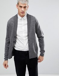 Selected Homme Knitted Merino Blend Shawl Cardigan Medium Grey