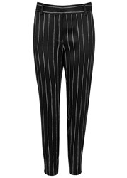 Dkny Black Pinstriped Satin Jersey Trousers Black And White
