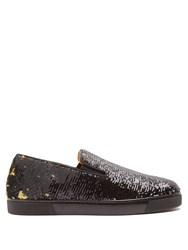 Christian Louboutin Boat Sequin Embellished Slip On Trainers Black Gold