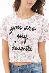 Forever 21 Rose Print Graphic Tee Cream Pink