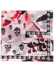 Alexander Mcqueen Floral And Skull Print Scarf Pink